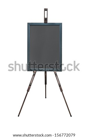 vintage chalk board made of wood isolate on white background - stock photo