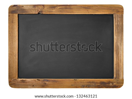 Vintage Chalkboard Isolated On White. Horizontal or Vertical alternative. - stock photo