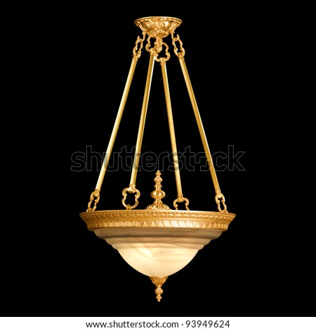 Vintage chandelier isolated on black background with clipping path