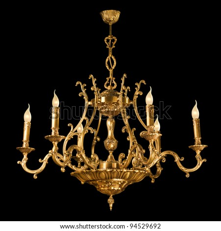 Vintage chandelier isolated on black background stock photo image vintage chandelier isolated on black background with clipping path mozeypictures Choice Image
