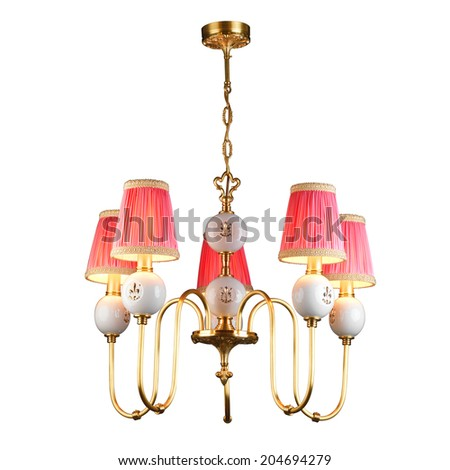 Vintage chandelier isolated on white background with clipping path - stock photo