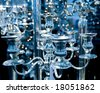 Vintage chandelier toned in blue - stock photo