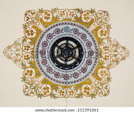 vintage chandelier with Thai painting - stock photo