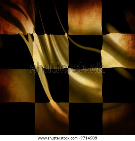 Vintage checkered flag with stains - stock photo