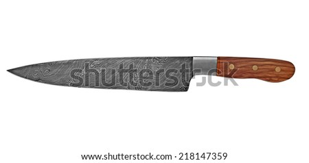 vintage chef damascus steel knife over white, clipping path - stock photo