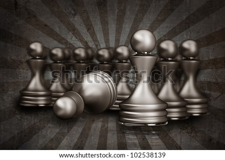 vintage chess pawn abstract background 3d illustration. high resolution - stock photo