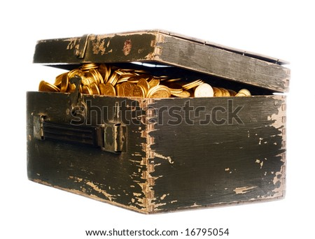 vintage chest full of gold on white