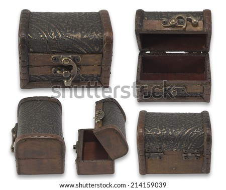 Vintage chest on isolated white background. - stock photo