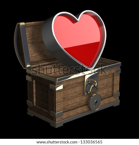 vintage chest with big heart isolated on black background High resolution 3d render - stock photo