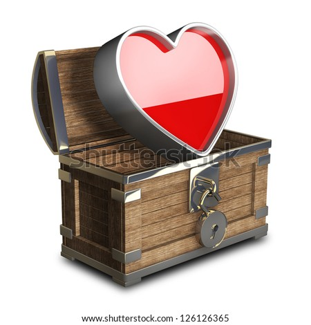 vintage chest with big heart isolated on white background High resolution 3d render - stock photo