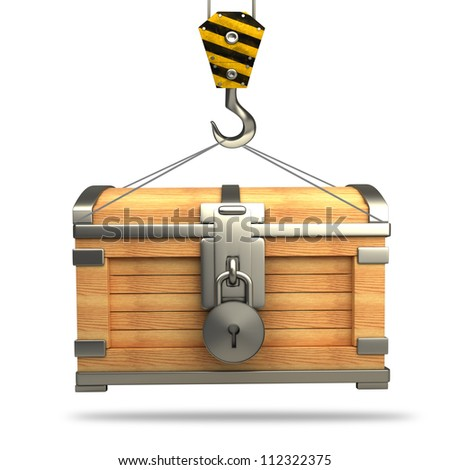 vintage chest with Crane hook isolated on white background High resolution 3d - stock photo