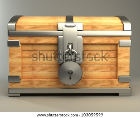 vintage chest with lock high resolution 3d render - stock photo