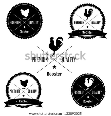 Vintage Chicken and Rooster Badge set - stock photo