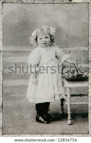 Vintage Child Photo Circa 1906: Image has grain as original print is very old