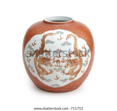 Vintage Chinese Vase Dragon Art Stock Photo Royalty Free 711752