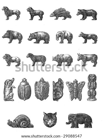Vintage Chocolate Mold Sketches - stock photo