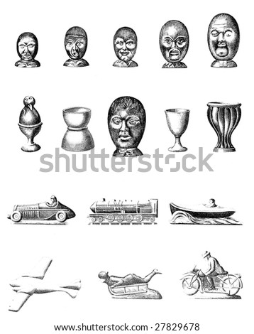 Vintage Chocolate Mold Sketches - Faces and Transportation