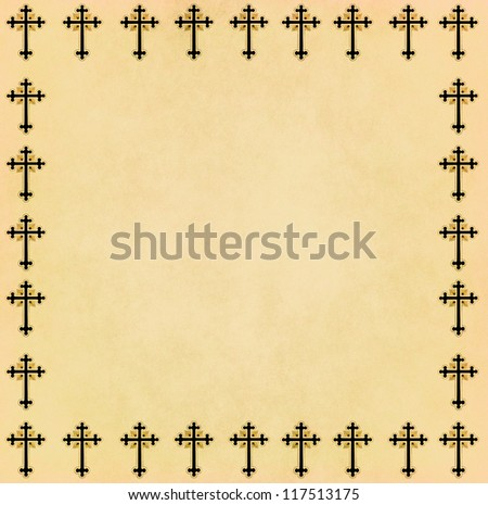 vintage christian cross frame on old paper