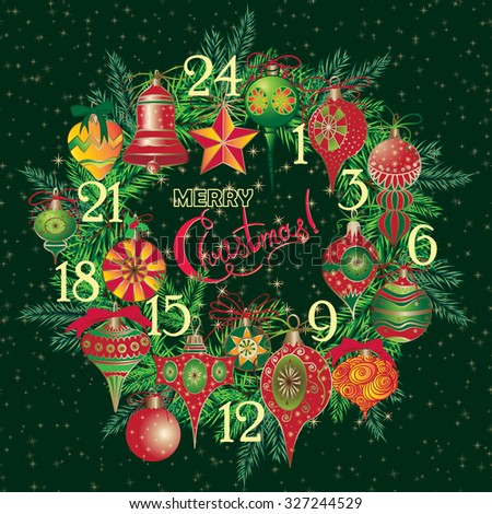 Vintage Christmas Advent Calendar with holiday symbol wreath Elegant winter decor pattern for your design. Illustration