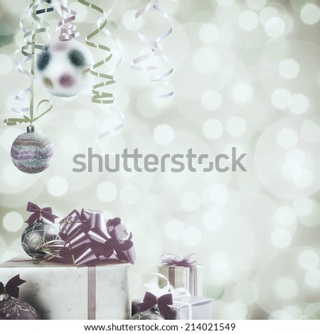 Vintage Christmas and New Year festive bokeh background, gift and balls, place for holiday text - stock photo