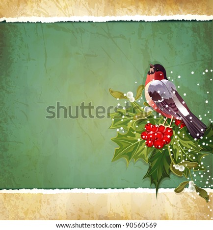 vintage Christmas background with holly and bullfinch (JPEG version) - stock photo