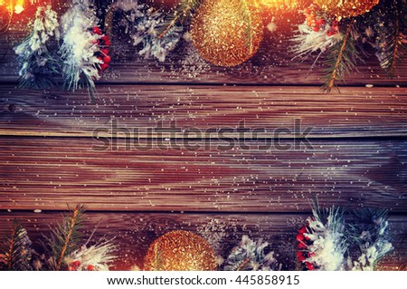 Vintage Christmas background with snow and Christmas decoration - stock photo