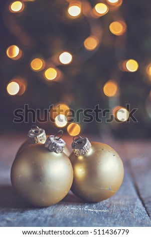 vintage Christmas balls on the background lights Christmas tree instagram style.