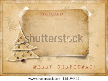 Vintage Christmas card - stock photo