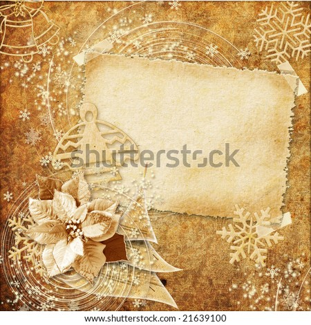 vintage christmas card - stock photo
