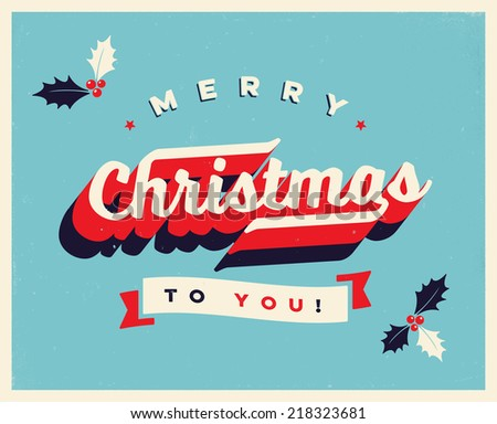 Vintage Christmas Card  - JPG Version - stock photo