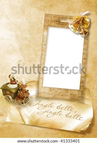 vintage christmas card with bells - stock photo