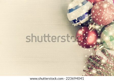 Vintage Christmas card with christmas decorations on  background - stock photo