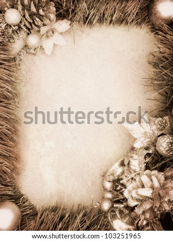 Vintage christmas card with decoration and copy space - stock photo