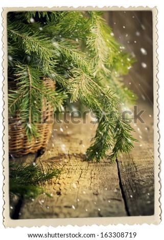 Vintage Christmas Card with Fir, photo frame - stock photo