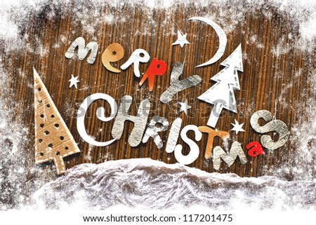 Vintage christmas card with greetings/Merry Christmas lettering - stock photo