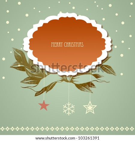 Vintage Christmas Card with label - stock photo