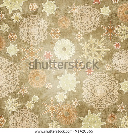 Vintage Christmas card with snowflakes - stock photo