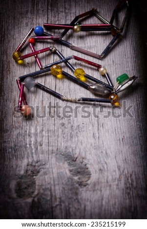 Vintage christmas decoration on aged wooden background with copyspace for your text. Selective focus. - stock photo