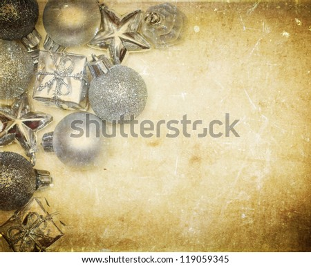 Vintage Christmas decoration with balls and copy space