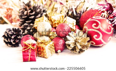 Vintage Christmas Decoration with Glitter Globes,Little Gifts and Sparkle  - stock photo
