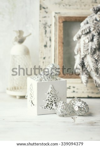Vintage Christmas decorations in white - stock photo