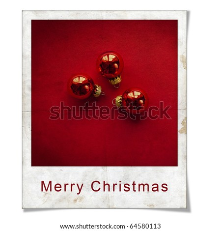 Vintage Christmas Gift in instant photo frame - stock photo