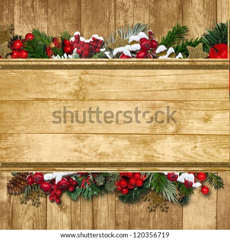 Vintage Christmas Greeting background with fir twig and holly - stock photo