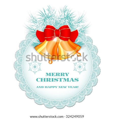 Vintage Christmas label with golden bells and bow and Christmas tree branches isolated on white background.