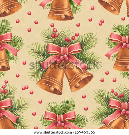 Vintage Christmas pattern. Watercolor bells and pine with decorations  - stock photo