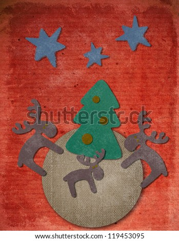 Vintage Christmas postcard with paper christmas tree and deers - stock photo