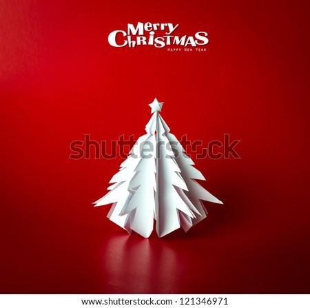 Vintage Christmas postcard with true paper christmas tree - stock photo
