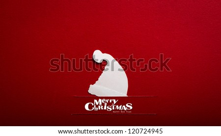 Vintage Christmas postcard with true paper cut of  santa hat - stock photo