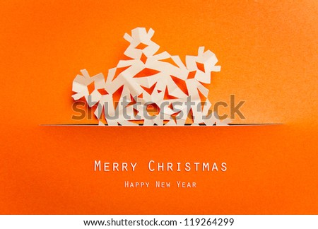 Vintage Christmas postcard with true paper snowflakes - stock photo