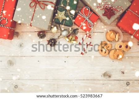 Vintage Christmas Theme Background With Handmade Rustic Gift Boxes And Decorating Elements Top View On